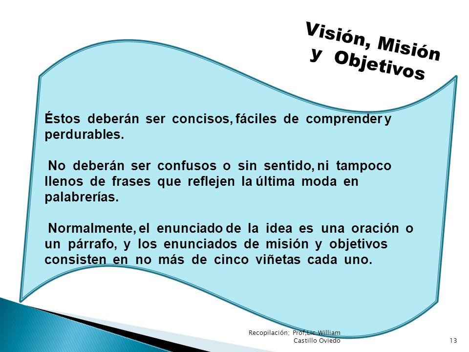 Visión, Misión y Objetivos Éstos deberán ser concisos, fáciles de comprender y perdurables. No deberán ser confusos o sin sentido, ni tampoco llenos d