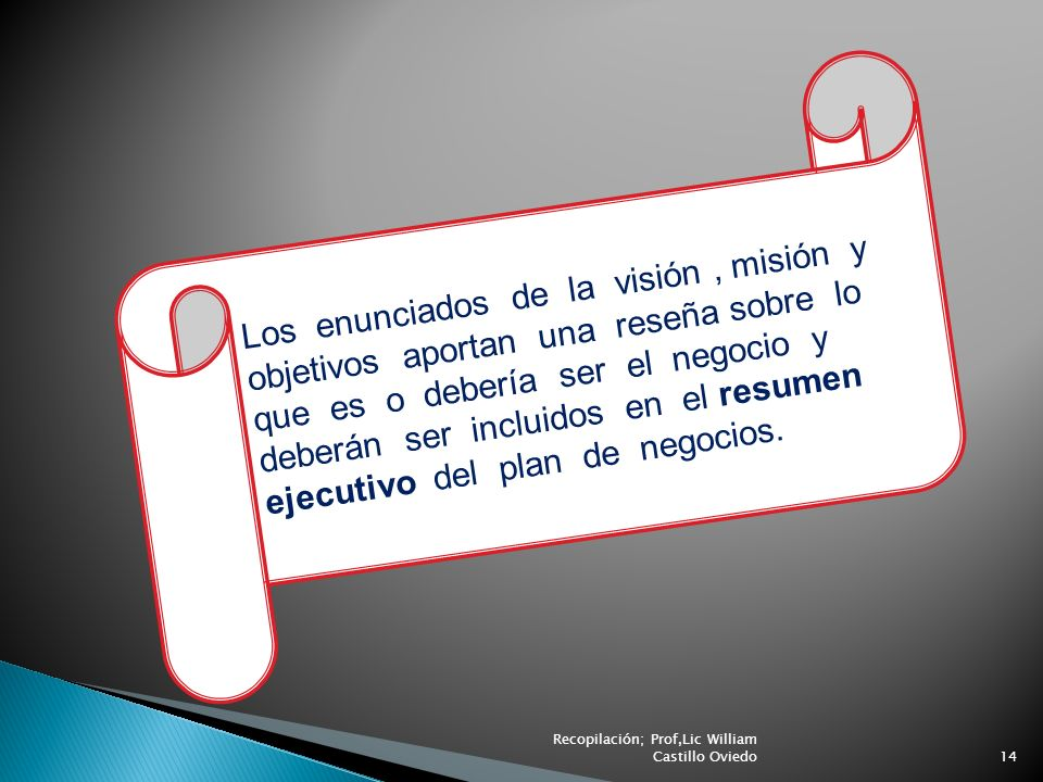 Los enunciados de la visión, misión y objetivos aportan una reseña sobre lo que es o debería ser el negocio y deberán ser incluidos en el resumen ejec