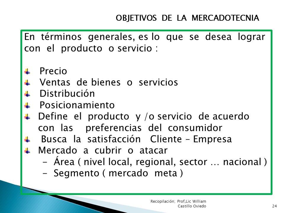 OBJETIVOS DE LA MERCADOTECNIA En términos generales, es lo que se desea lograr con el producto o servicio : Precio Ventas de bienes o servicios Distri