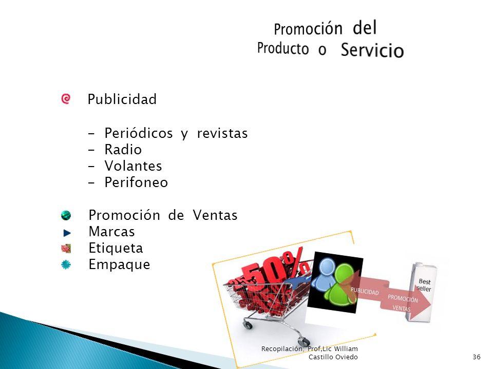 Publicidad - Periódicos y revistas - Radio - Volantes - Perifoneo Promoción de Ventas Marcas Etiqueta Empaque 36 Recopilación; Prof,Lic William Castil