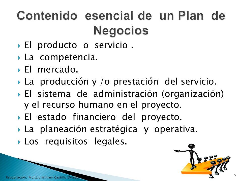 El producto o servicio. La competencia. El mercado. La producción y /o prestación del servicio. El sistema de administración (organización) y el recur