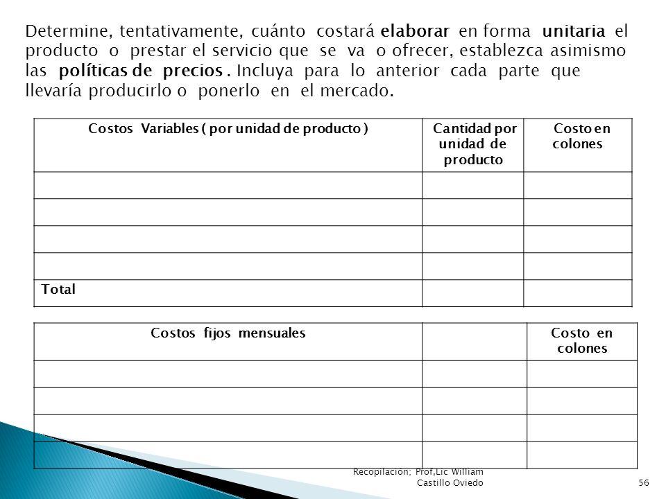 Recopilación; Prof,Lic William Castillo Oviedo56 Determine, tentativamente, cuánto costará elaborar en forma unitaria el producto o prestar el servici