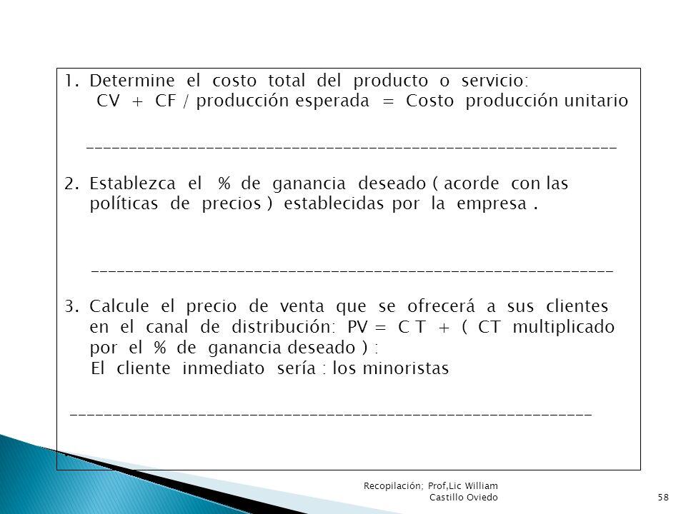 Recopilación; Prof,Lic William Castillo Oviedo58 1.Determine el costo total del producto o servicio: CV + CF / producción esperada = Costo producción