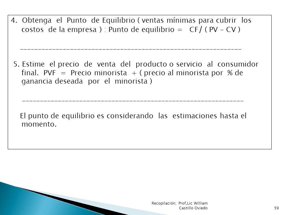 Recopilación; Prof,Lic William Castillo Oviedo59 4. Obtenga el Punto de Equilibrio ( ventas mínimas para cubrir los costos de la empresa ) : Punto de