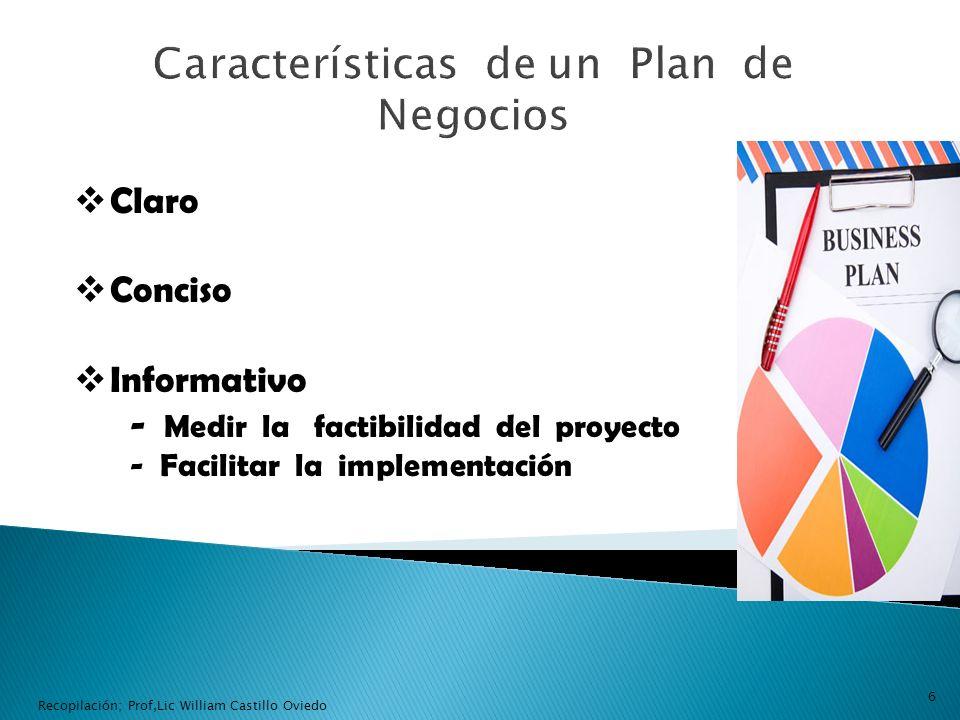 Claro Conciso Informativo - Medir la factibilidad del proyecto - Facilitar la implementación 6 Recopilación; Prof,Lic William Castillo Oviedo