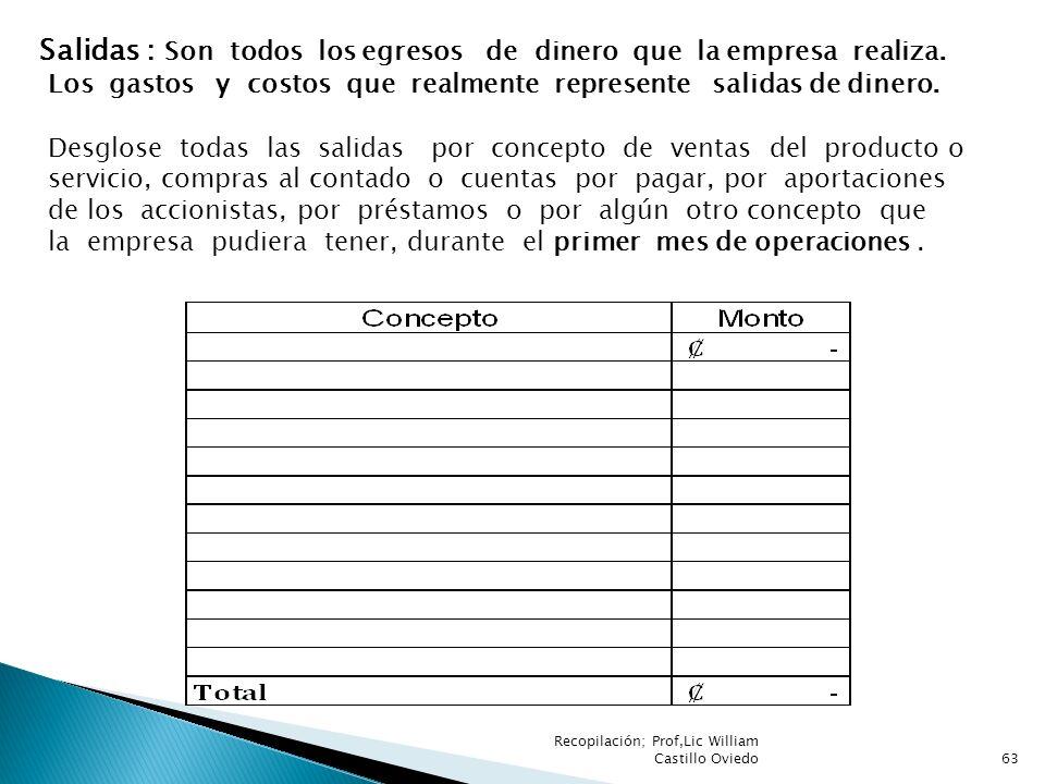 Recopilación; Prof,Lic William Castillo Oviedo63 Salidas : Son todos los egresos de dinero que la empresa realiza. Los gastos y costos que realmente r