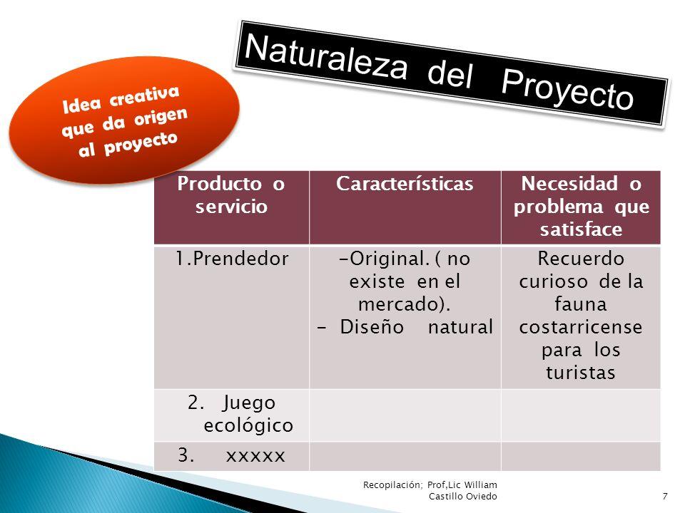 Naturaleza del Proyecto Producto o servicio CaracterísticasNecesidad o problema que satisface 1.Prendedor -Original. ( no existe en el mercado). - Dis