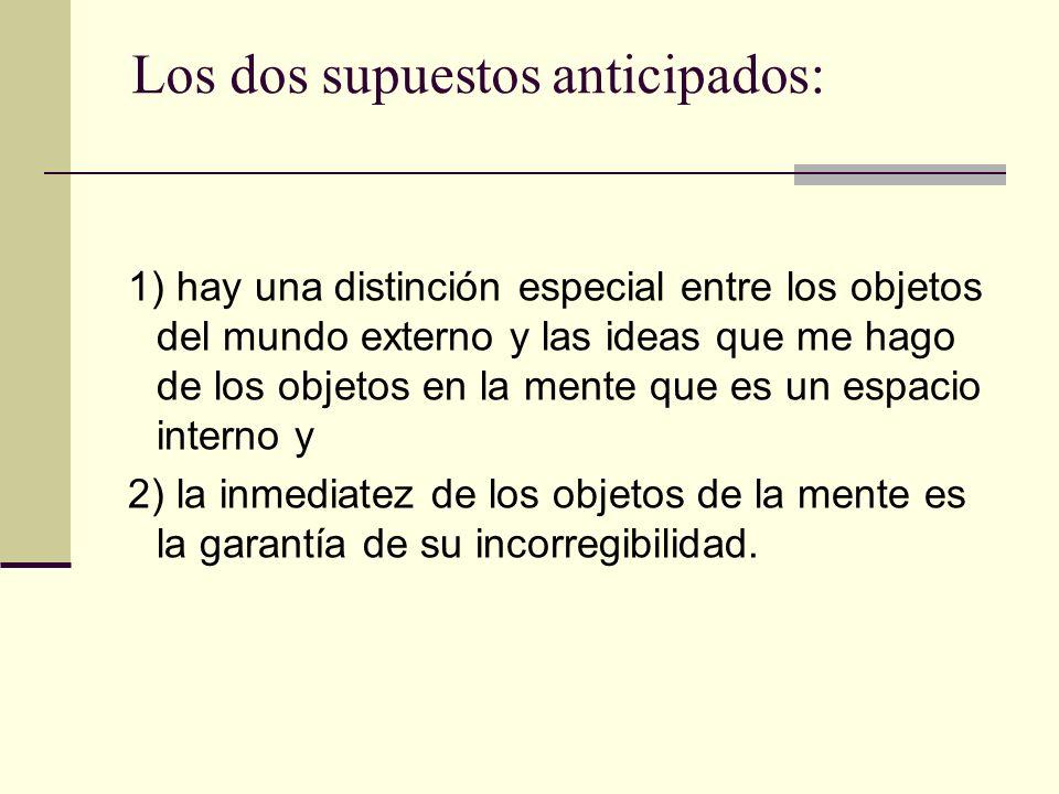 Los dos supuestos anticipados: 1) hay una distinción especial entre los objetos del mundo externo y las ideas que me hago de los objetos en la mente q