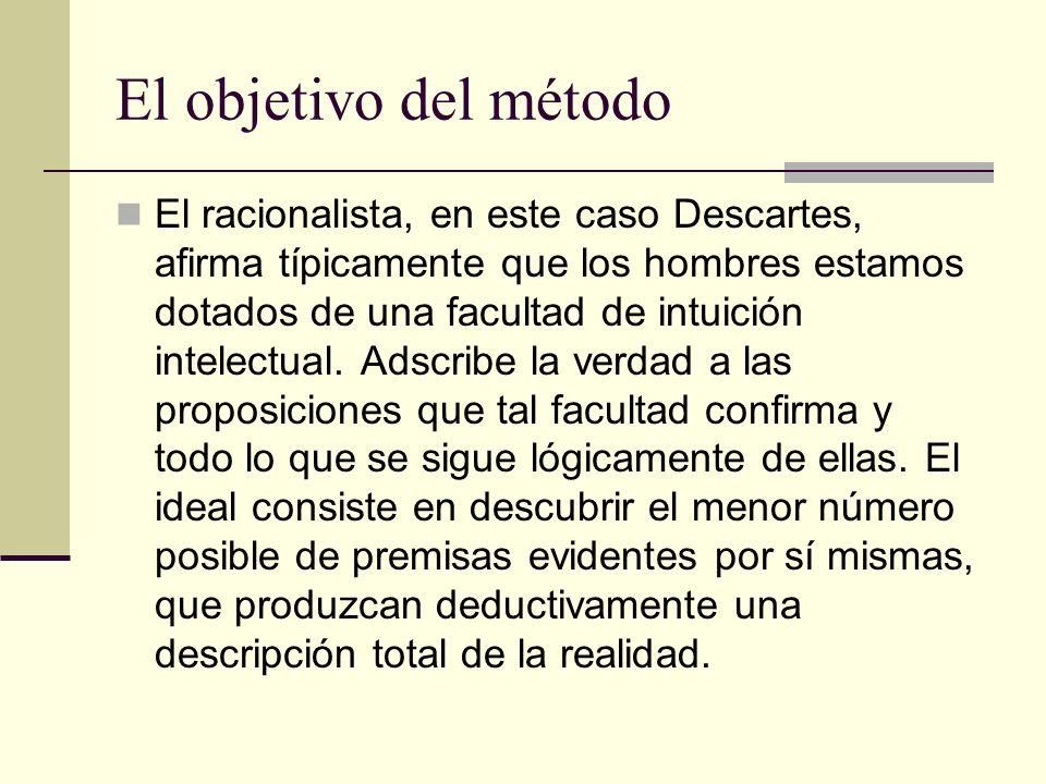 El objetivo del método El racionalista, en este caso Descartes, afirma típicamente que los hombres estamos dotados de una facultad de intuición intelectual.
