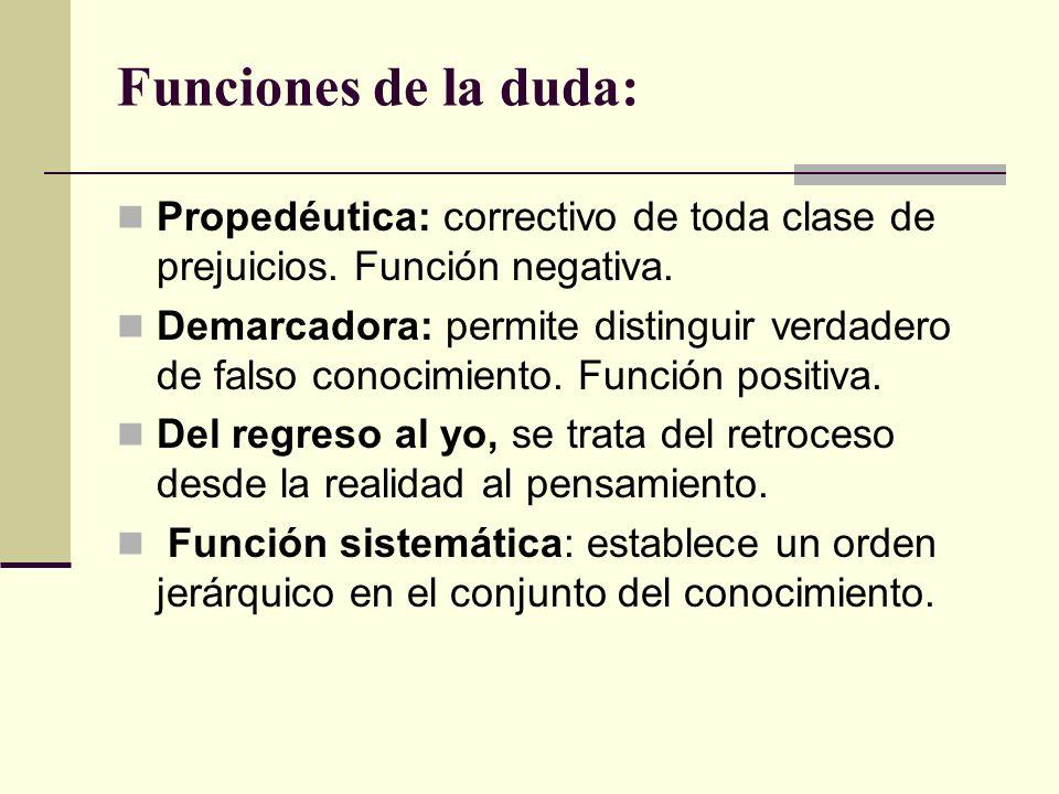 Funciones de la duda: Propedéutica: correctivo de toda clase de prejuicios. Función negativa. Demarcadora: permite distinguir verdadero de falso conoc
