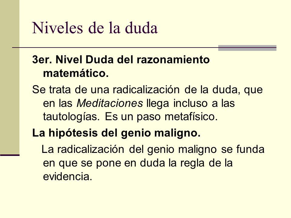 Niveles de la duda 3er. Nivel Duda del razonamiento matemático. Se trata de una radicalización de la duda, que en las Meditaciones llega incluso a las