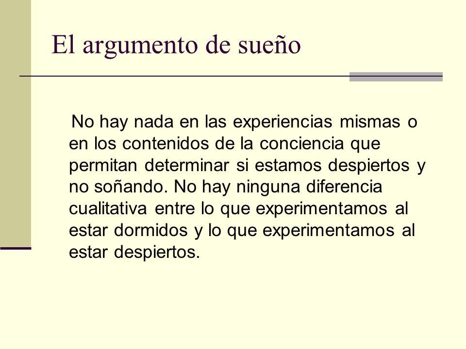 El argumento de sueño No hay nada en las experiencias mismas o en los contenidos de la conciencia que permitan determinar si estamos despiertos y no s