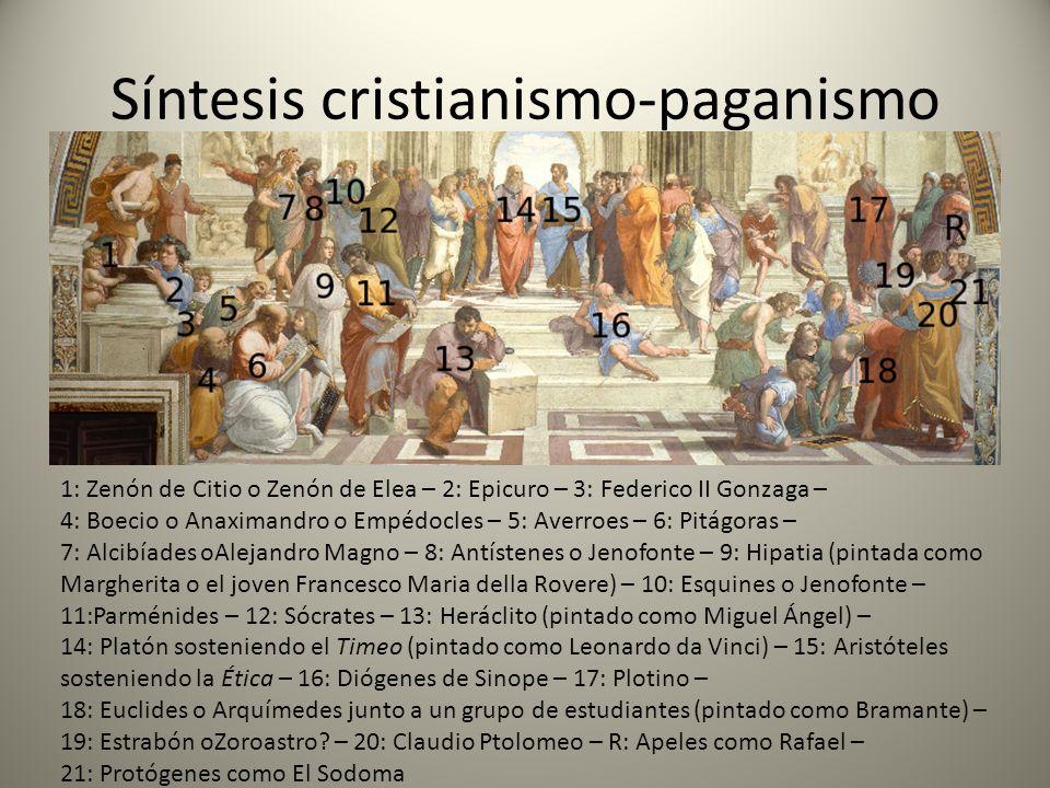 Síntesis cristianismo-paganismo 1: Zenón de Citio o Zenón de Elea – 2: Epicuro – 3: Federico II Gonzaga – 4: Boecio o Anaximandro o Empédocles – 5: Av