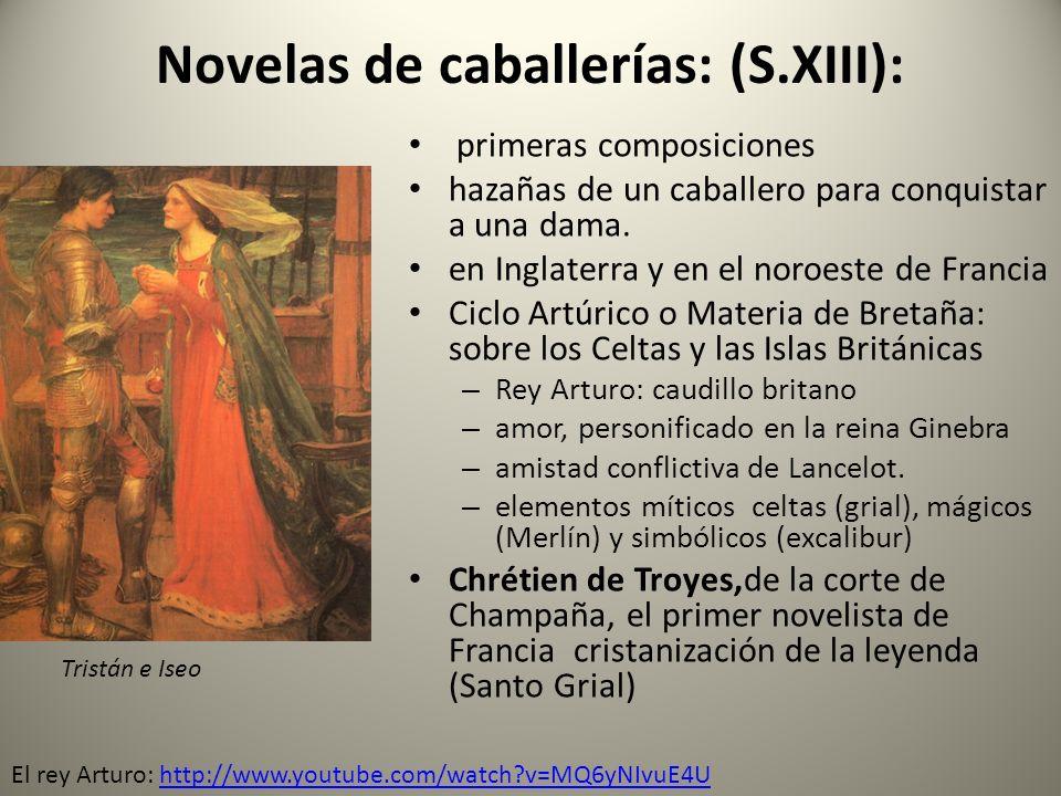 Novelas de caballerías: (S.XIII): primeras composiciones hazañas de un caballero para conquistar a una dama. en Inglaterra y en el noroeste de Francia
