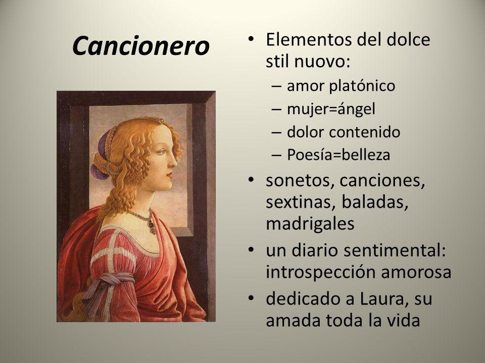 Cancionero Elementos del dolce stil nuovo: – amor platónico – mujer=ángel – dolor contenido – Poesía=belleza sonetos, canciones, sextinas, baladas, ma