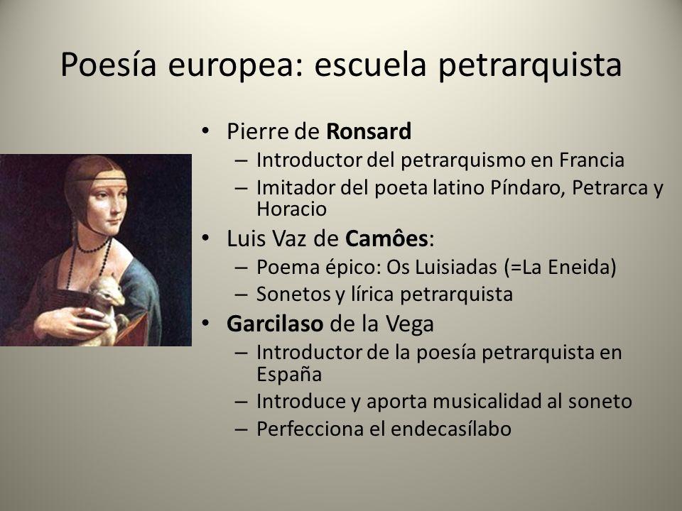 Poesía europea: escuela petrarquista Pierre de Ronsard – Introductor del petrarquismo en Francia – Imitador del poeta latino Píndaro, Petrarca y Horac