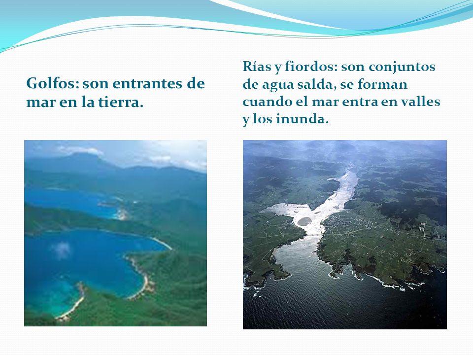 Golfos: son entrantes de mar en la tierra. Rías y fiordos: son conjuntos de agua salda, se forman cuando el mar entra en valles y los inunda.