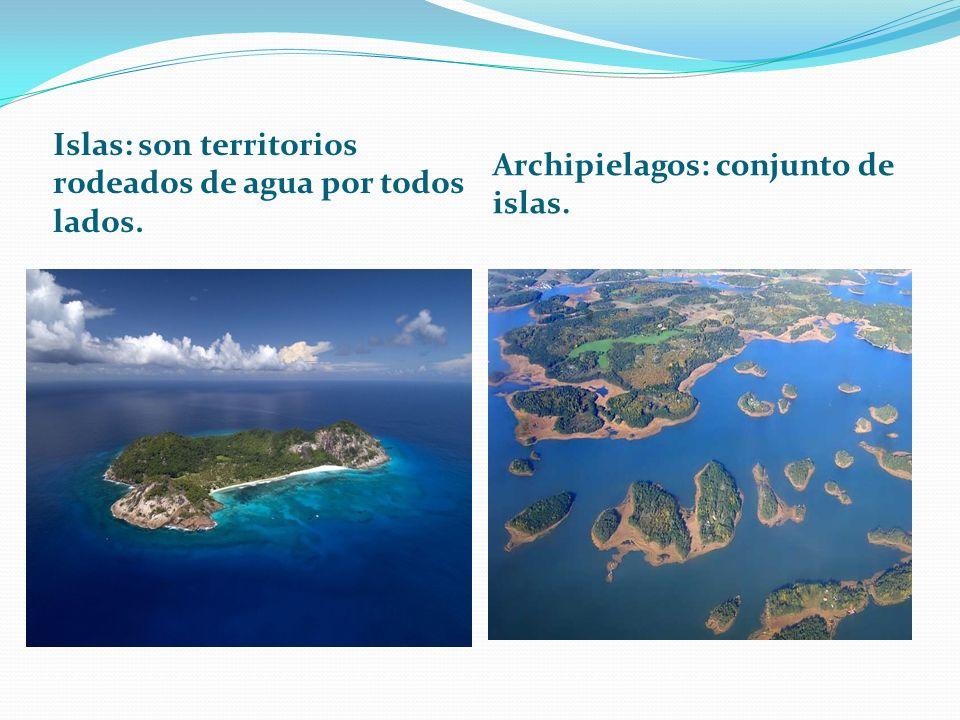 Islas: son territorios rodeados de agua por todos lados. Archipielagos: conjunto de islas.