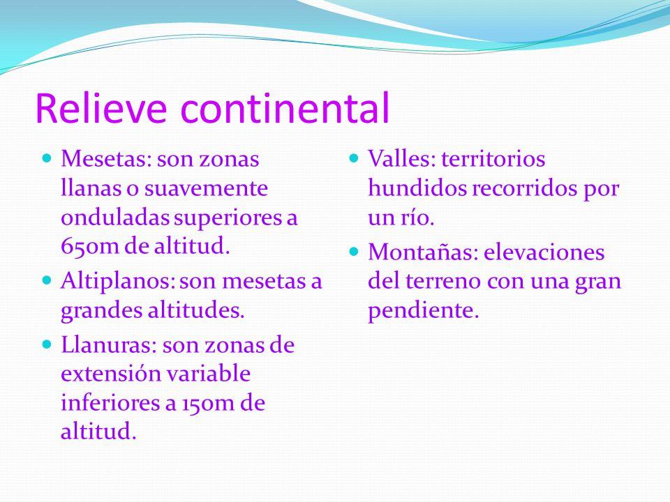 Relieve continental Mesetas: son zonas llanas o suavemente onduladas superiores a 650m de altitud. Altiplanos: son mesetas a grandes altitudes. Llanur