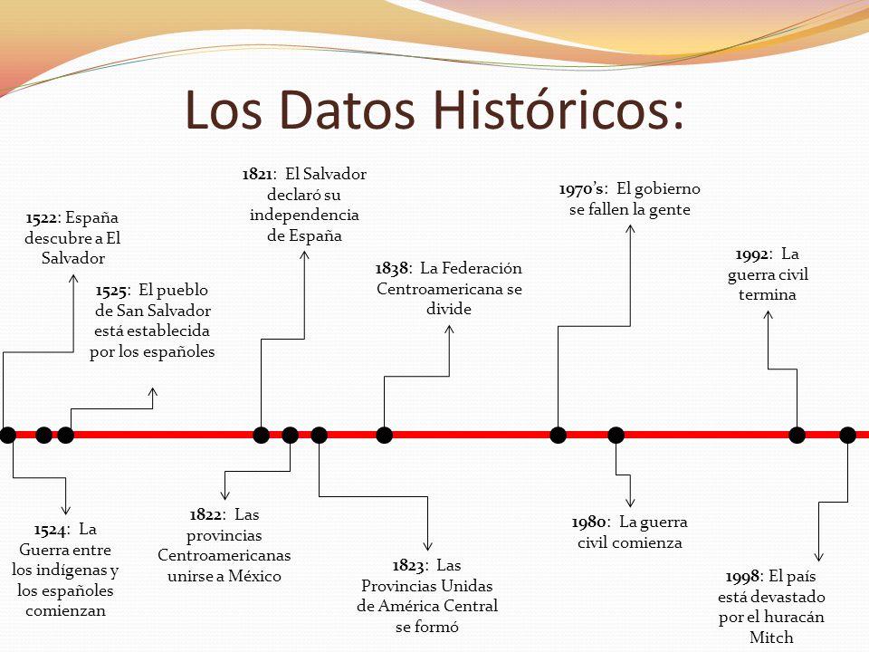 1524: La Guerra entre los indígenas y los españoles comienzan Los Datos Históricos: 1522: España descubre a El Salvador 1525: El pueblo de San Salvado