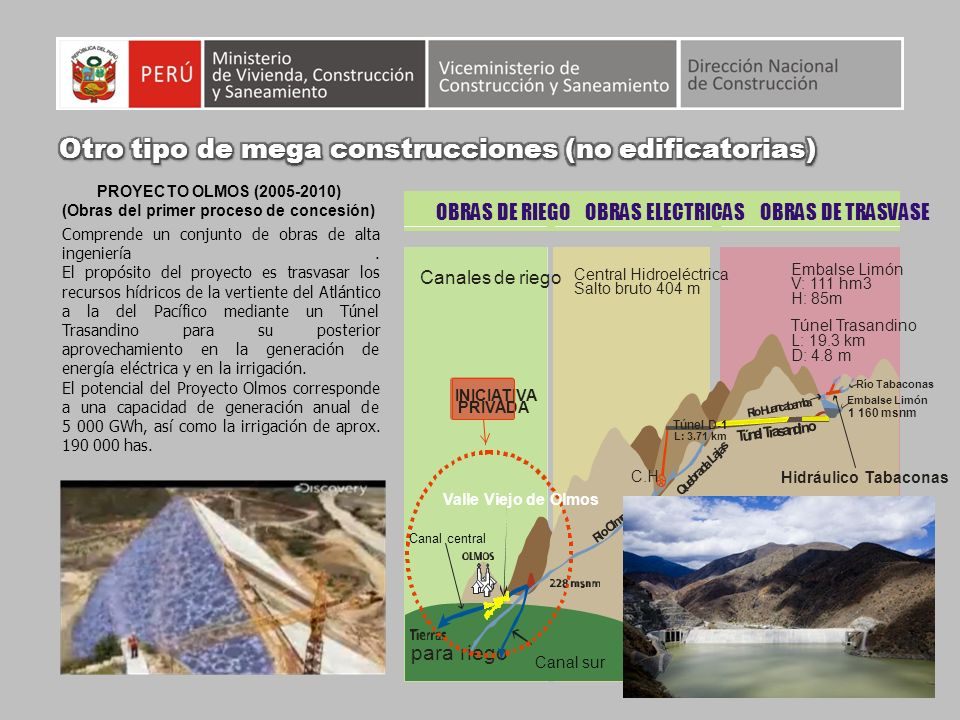 PROYECTO OLMOS (2005-2010) (Obras del primer proceso de concesión) Comprende un conjunto de obras de alta ingeniería. El propósito del proyecto es tra