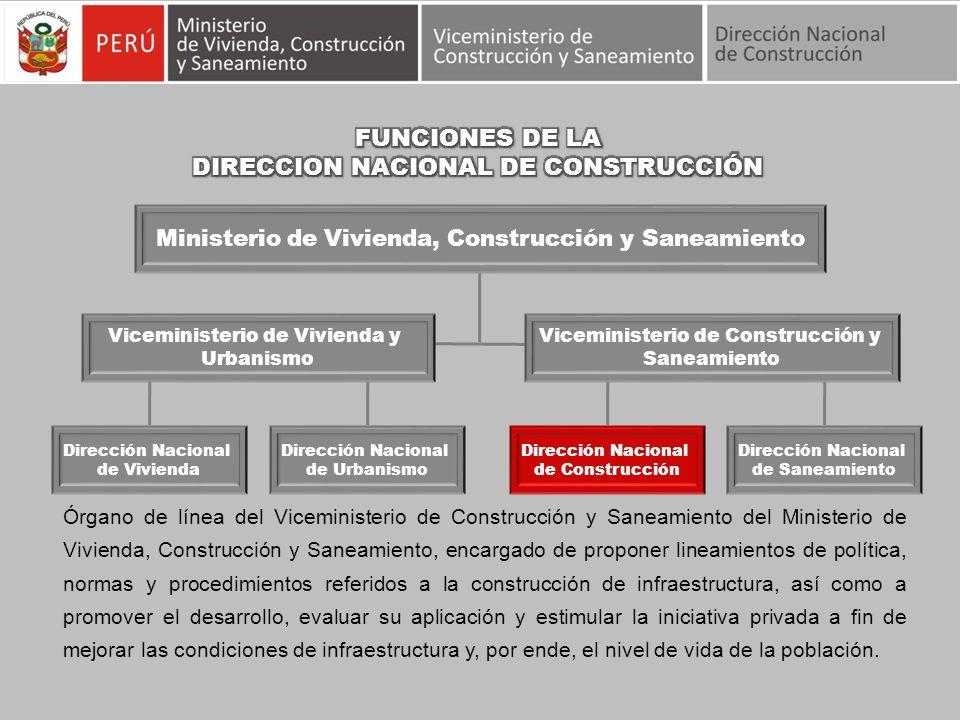 Órgano de línea del Viceministerio de Construcción y Saneamiento del Ministerio de Vivienda, Construcción y Saneamiento, encargado de proponer lineami