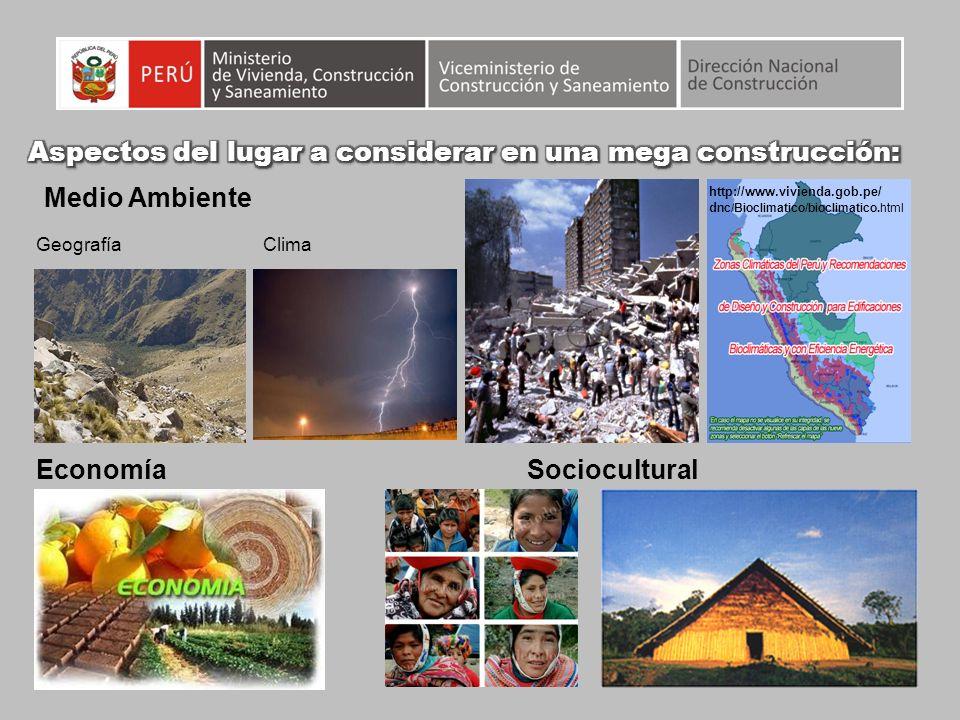GeografíaClima EconomíaSociocultural Medio Ambiente http://www.vivienda.gob.pe/ d nc/Bioclimatico/bioclimatico.html