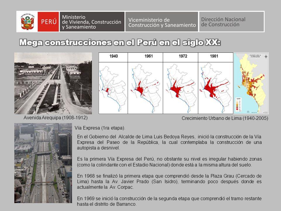 Crecimiento Urbano de Lima (1940-2005) Avenida Arequipa (1908-1912) En el Gobierno del Alcalde de Lima Luis Bedoya Reyes, inició la construcción de la