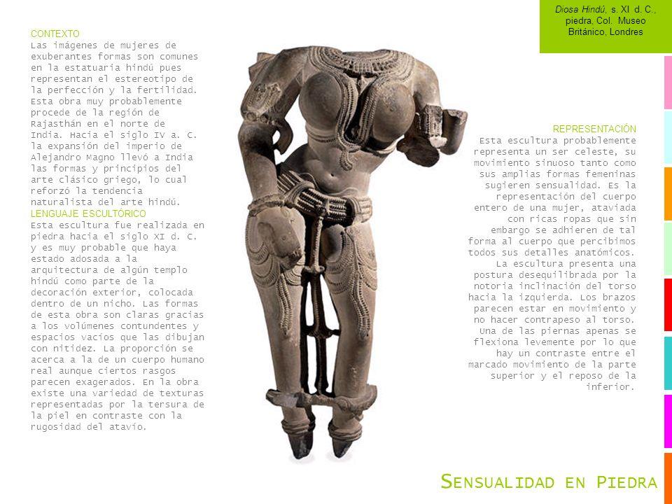 CONTEXTO Las imágenes de mujeres de exuberantes formas son comunes en la estatuaria hindú pues representan el estereotipo de la perfección y la fertil