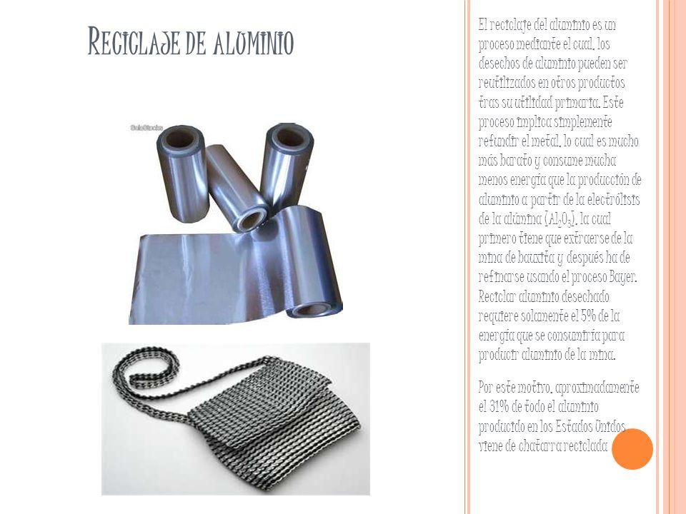 R ECICLAJE DE ALUMINIO El reciclaje del aluminio es un proceso mediante el cual, los desechos de aluminio pueden ser reutilizados en otros productos t