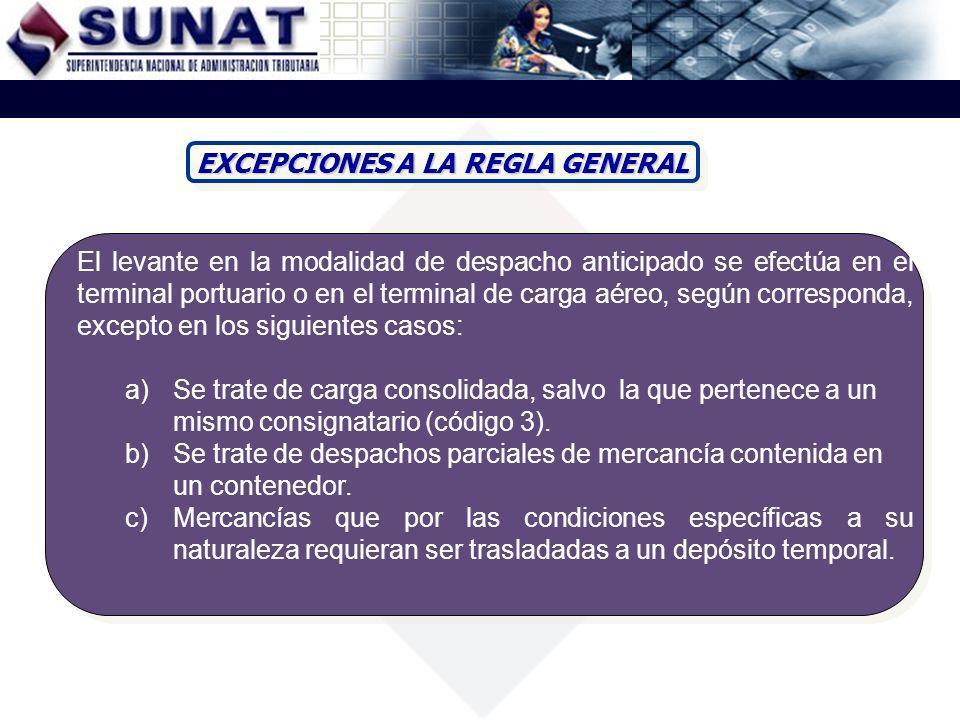 EXCEPCIONES A LA REGLA GENERAL El levante en la modalidad de despacho anticipado se efectúa en el terminal portuario o en el terminal de carga aéreo,