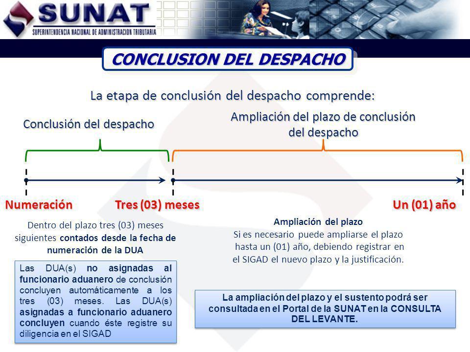 La etapa de conclusión del despacho comprende: Numeración Ampliación del plazo Si es necesario puede ampliarse el plazo hasta un (01) año, debiendo re