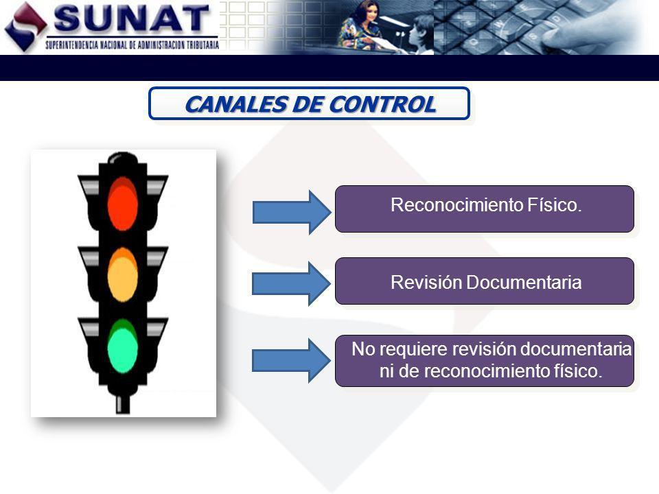 CANALES DE CONTROL Reconocimiento Físico. Revisión Documentaria No requiere revisión documentaria ni de reconocimiento físico.