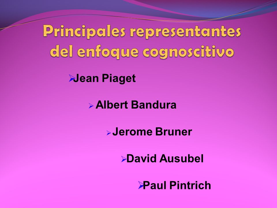 Jean Piaget Albert Bandura Jerome Bruner David Ausubel Paul Pintrich
