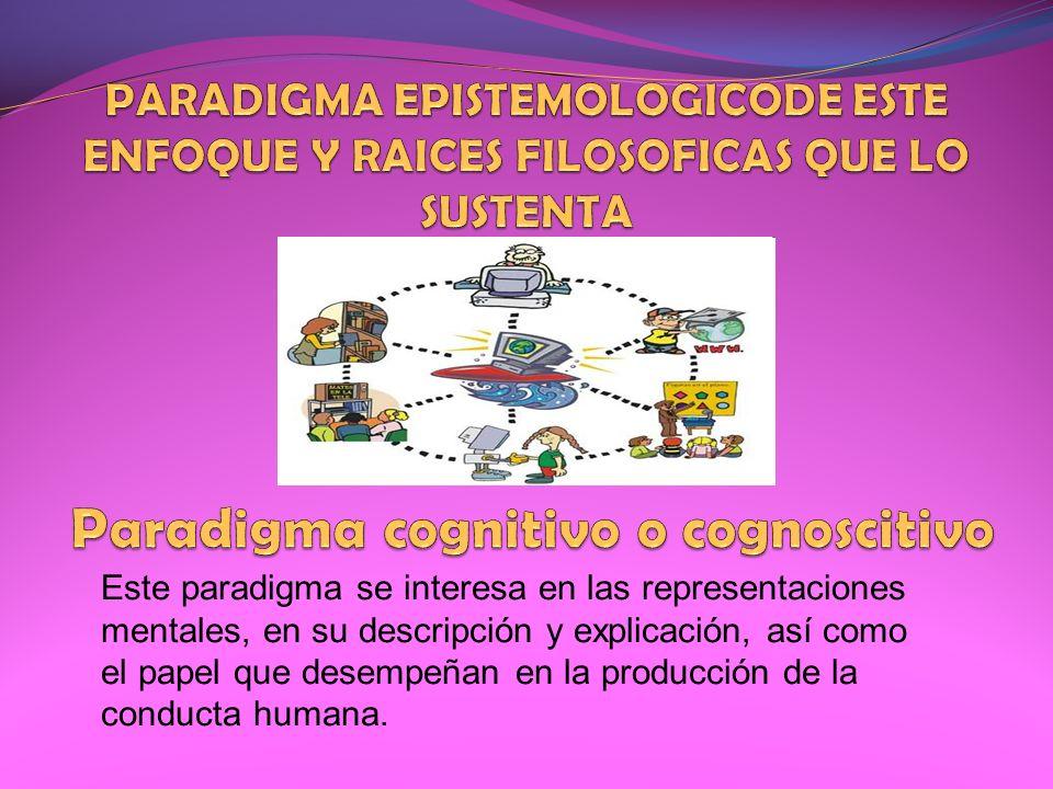 Este paradigma se interesa en las representaciones mentales, en su descripción y explicación, así como el papel que desempeñan en la producción de la
