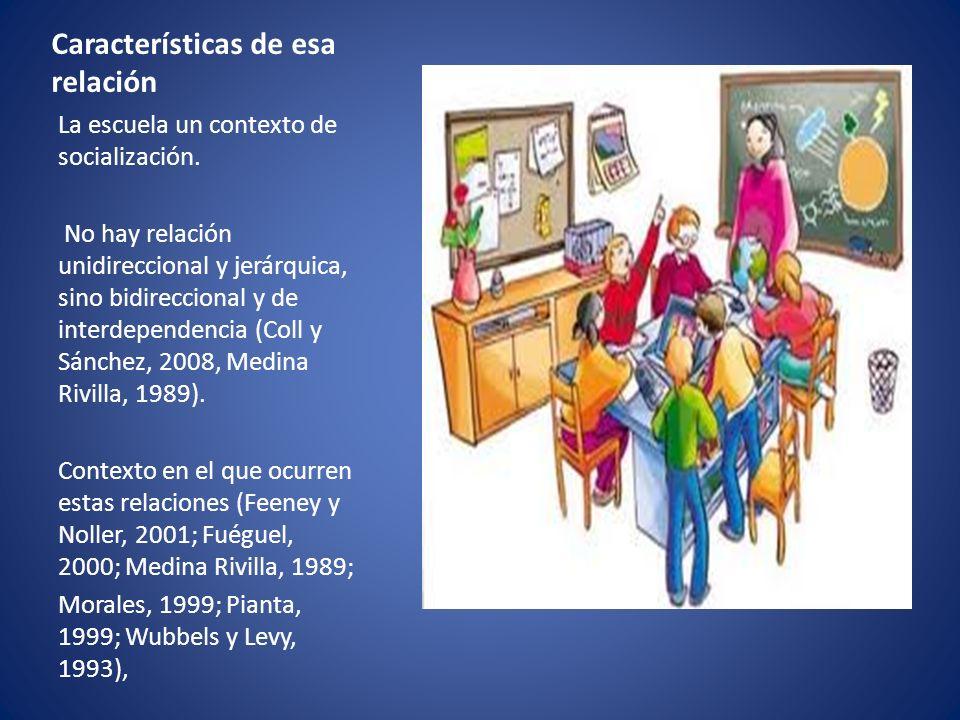 Características de esa relación La escuela un contexto de socialización. No hay relación unidireccional y jerárquica, sino bidireccional y de interdep