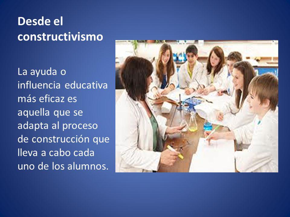 Desde el constructivismo La ayuda o influencia educativa más eficaz es aquella que se adapta al proceso de construcción que lleva a cabo cada uno de l