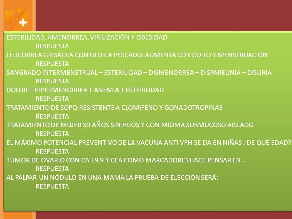 ESTERILIDAD, AMENORREA, VIRILIZACIÓN Y OBESIDAD RESPUESTA LEUCORREA GRISÁCEA CON OLOR A PESCADO.