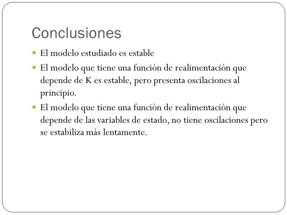 Conclusiones El modelo estudiado es estable El modelo que tiene una función de realimentación que depende de K es estable, pero presenta oscilaciones