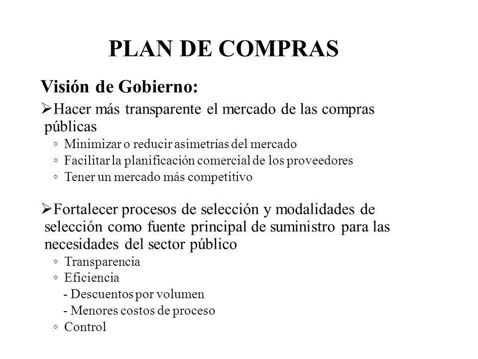 Visión de Gobierno: Hacer más transparente el mercado de las compras públicas Minimizar o reducir asimetrías del mercado Facilitar la planificación co