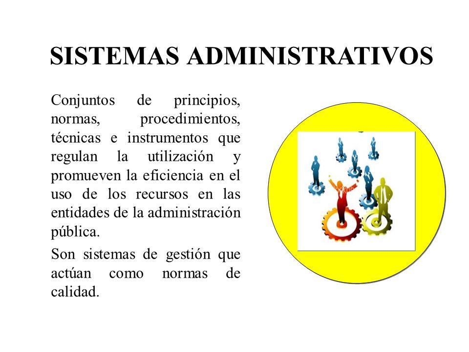 Conjuntos de principios, normas, procedimientos, técnicas e instrumentos que regulan la utilización y promueven la eficiencia en el uso de los recurso