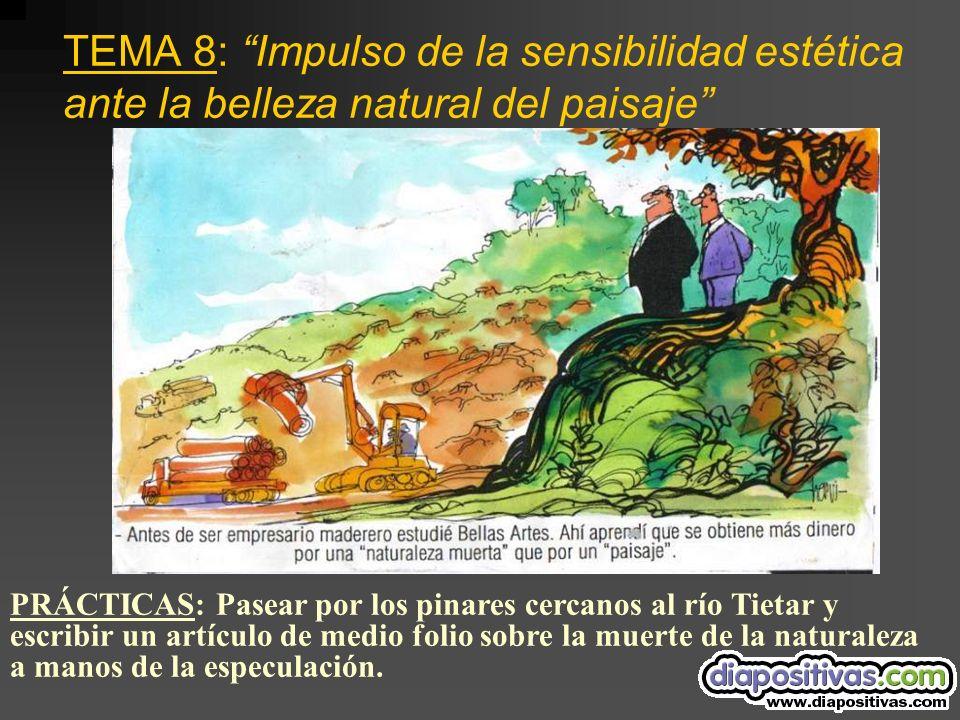 TEMA 8: Impulso de la sensibilidad estética ante la belleza natural del paisaje PRÁCTICAS: Pasear por los pinares cercanos al río Tietar y escribir un artículo de medio folio sobre la muerte de la naturaleza a manos de la especulación.
