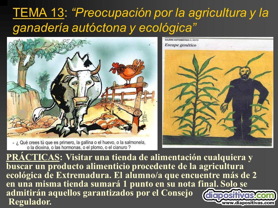 TEMA 13: Preocupación por la agricultura y la ganadería autóctona y ecológica PRÁCTICAS: Visitar una tienda de alimentación cualquiera y buscar un producto alimenticio procedente de la agricultura ecológica de Extremadura.