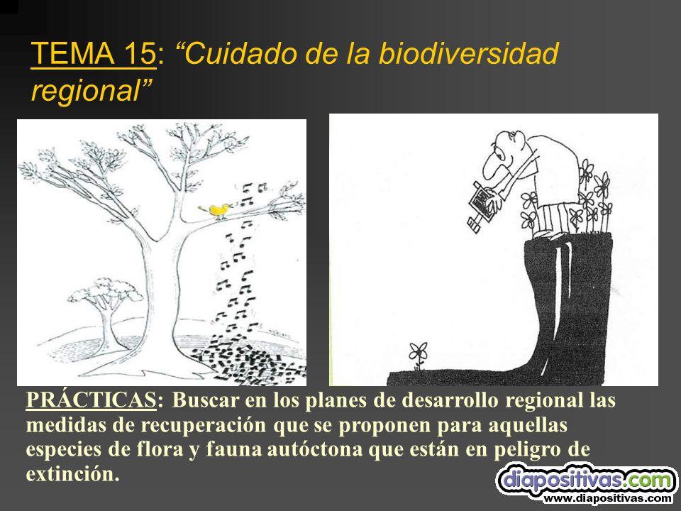 TEMA 15: Cuidado de la biodiversidad regional PRÁCTICAS: Buscar en los planes de desarrollo regional las medidas de recuperación que se proponen para aquellas especies de flora y fauna autóctona que están en peligro de extinción.