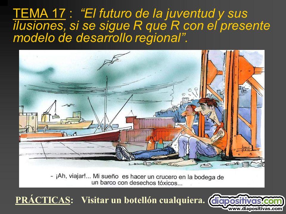 TEMA 17 : El futuro de la juventud y sus ilusiones, si se sigue R que R con el presente modelo de desarrollo regional.