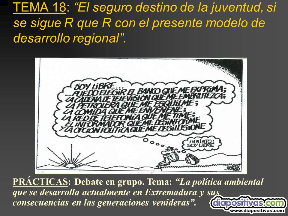 TEMA 18: El seguro destino de la juventud, si se sigue R que R con el presente modelo de desarrollo regional.