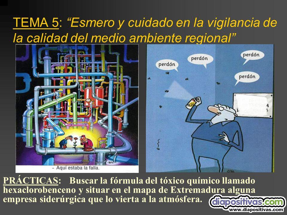 TEMA 5: Esmero y cuidado en la vigilancia de la calidad del medio ambiente regional PRÁCTICAS: Buscar la fórmula del tóxico químico llamado hexaclorobenceno y situar en el mapa de Extremadura alguna empresa siderúrgica que lo vierta a la atmósfera.