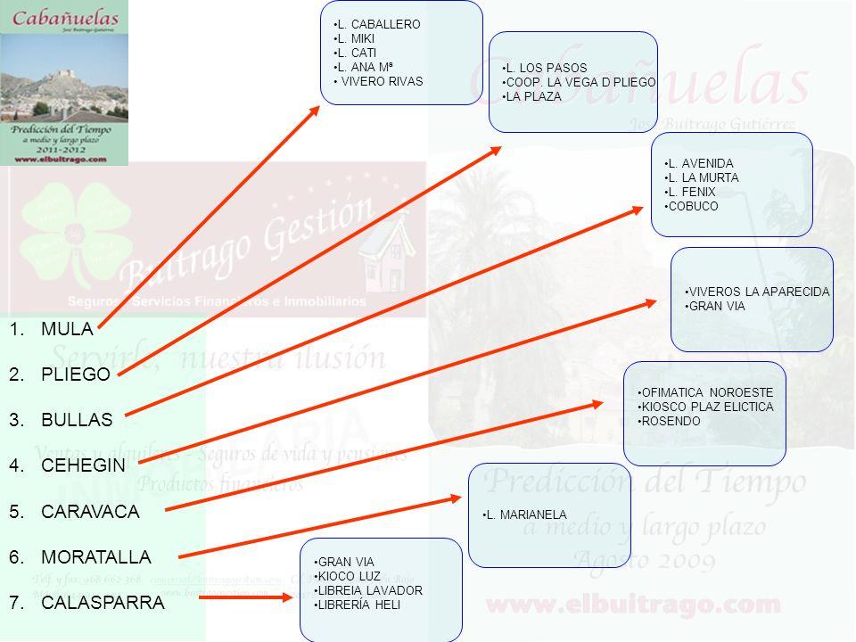 1.MULA 2.PLIEGO 3.BULLAS 4.CEHEGIN 5.CARAVACA 6.MORATALLA 7.CALASPARRA L.