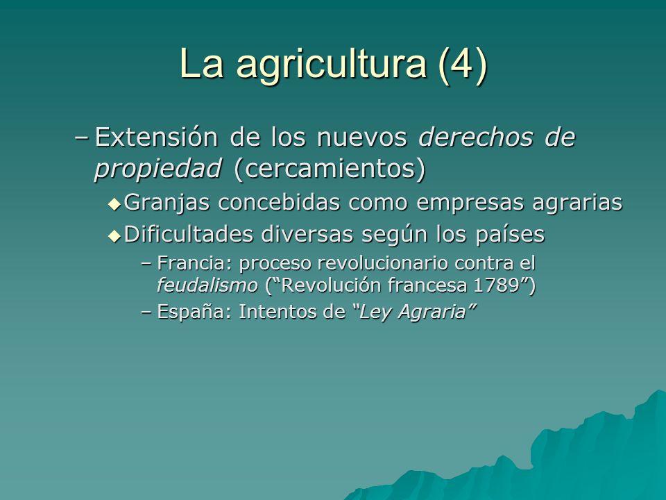 La agricultura (4) –Extensión de los nuevos derechos de propiedad (cercamientos) Granjas concebidas como empresas agrarias Granjas concebidas como emp
