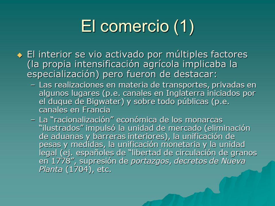 El comercio (1) El interior se vio activado por múltiples factores (la propia intensificación agrícola implicaba la especialización) pero fueron de de